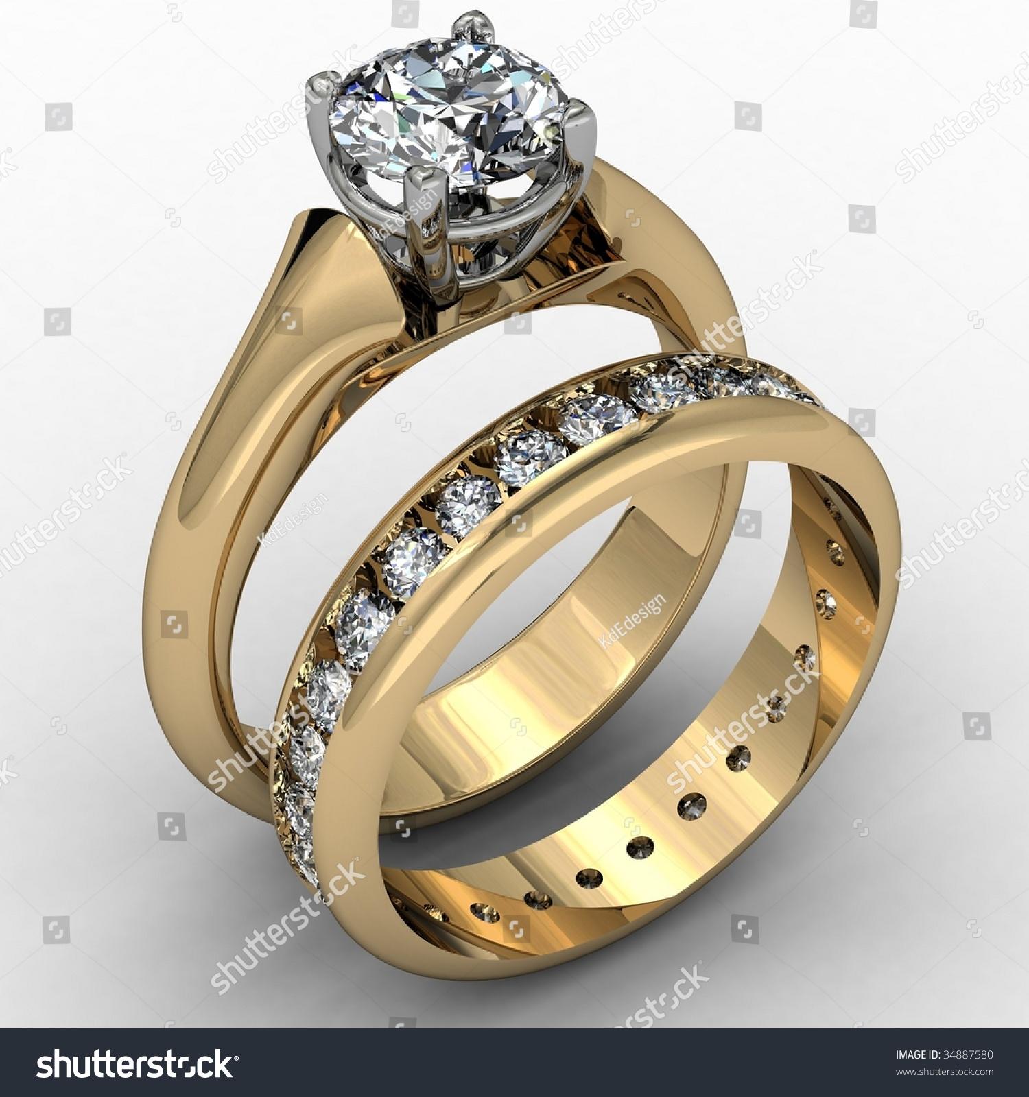 Two Tone Diamond Wedding Ring Set Stock Illustration