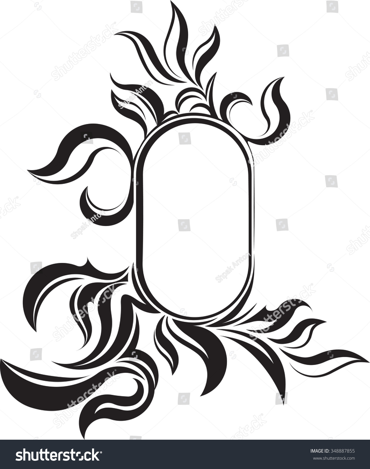 oval frame tattoo design. Unusual Oval Vintage Frame For Your Design Or Tattoo. Vector Illustration. Tattoo
