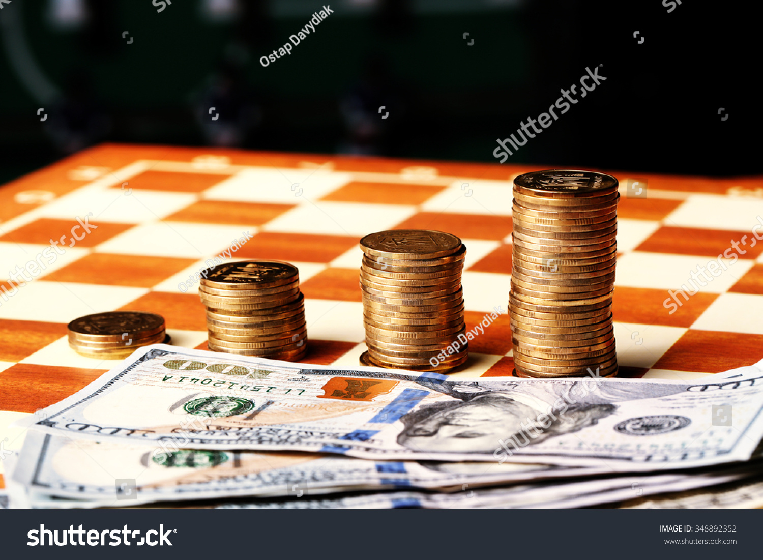 Tower Coins Dollars On Chessboard Money Stock Photo Edit Now Circuitboardnotebook And A