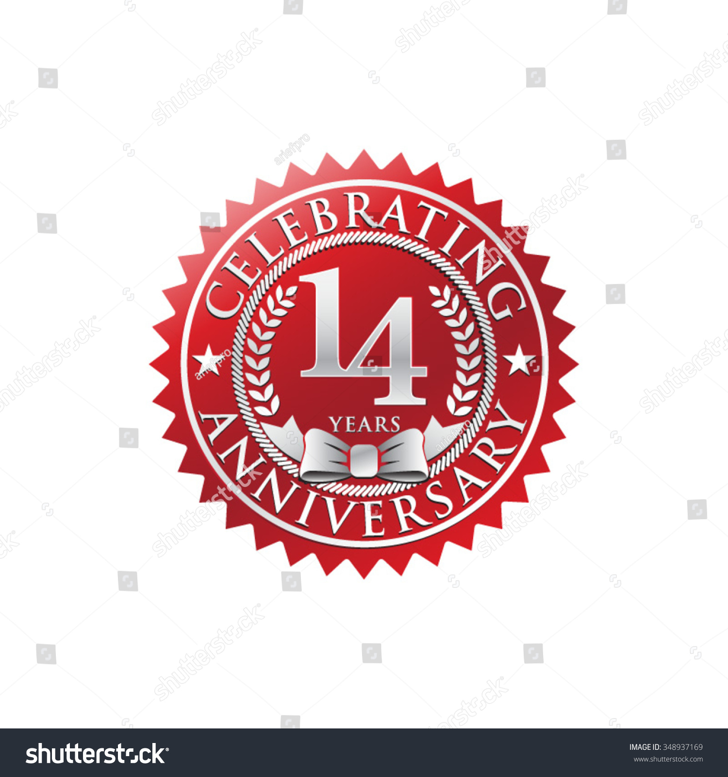 14 Years Anniversary Silver Red Badge Stock Vector 348937169
