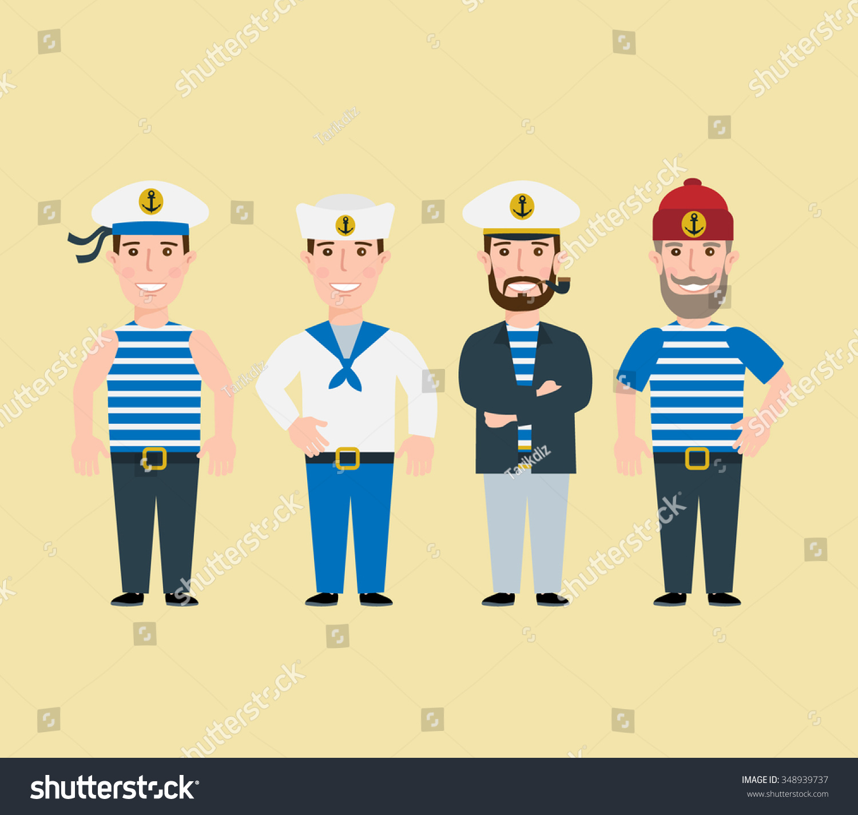 Captain N Cartoon Characters : Cartoon sailor characters set captain stock vector