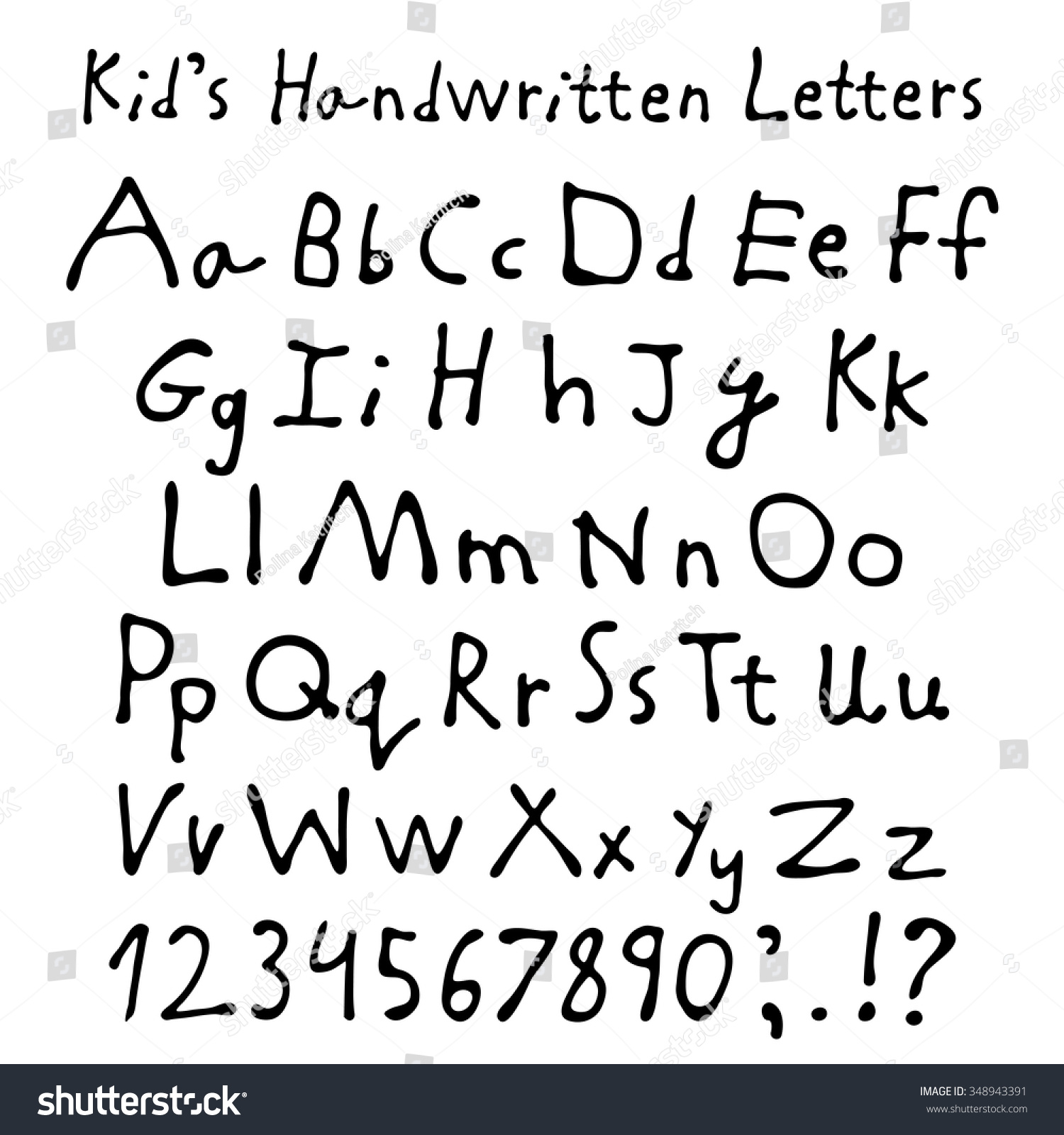 Worksheets Script Alphabet For Kids kids handwritten letters full alphabet and numbers children script font preview save to a lightbox