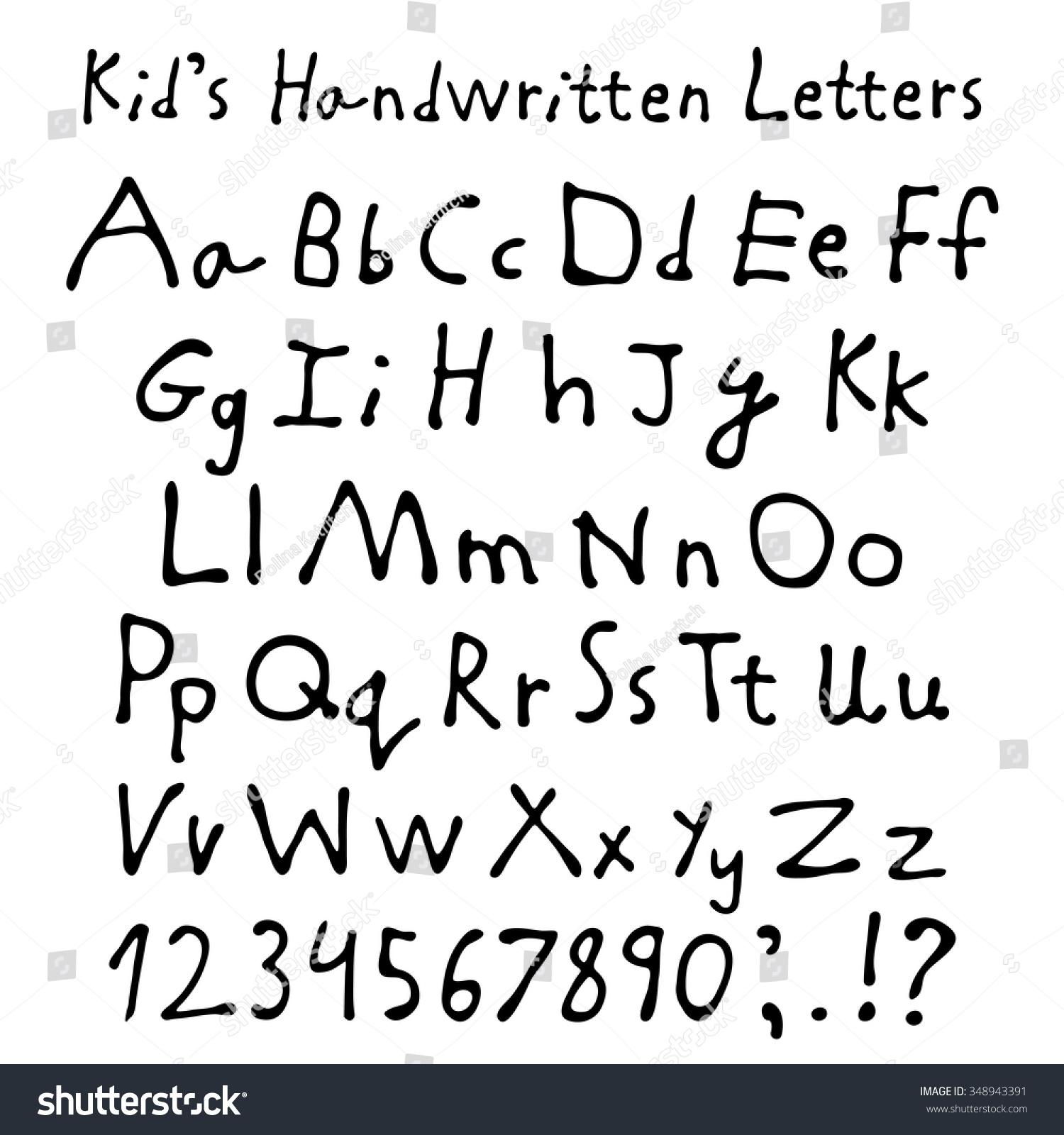 Worksheets Script Alphabet For Kids kids handwritten letters full alphabet numbers stock vector and children script font