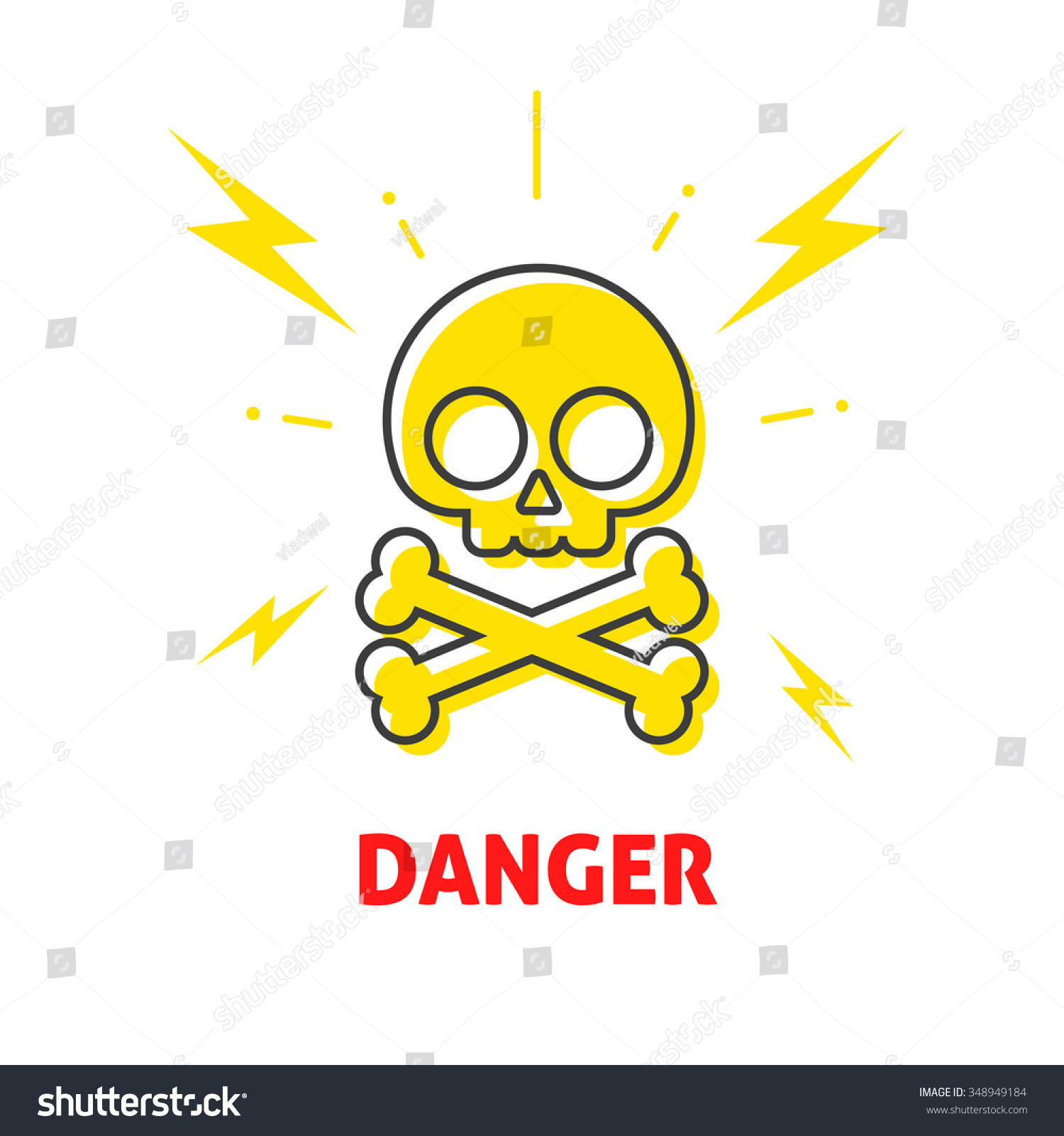 Electrical Shock Hazard Sign Badge Electricity Protection Warning Danger Sticker High Potential Flat Icon