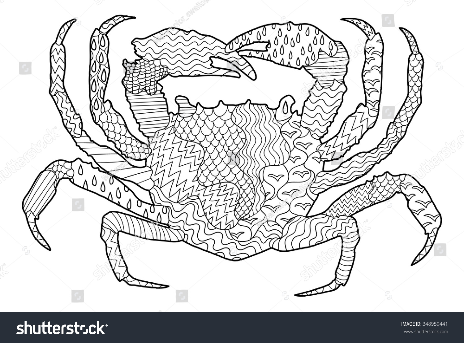 Sea Crab With High Details Adult Antistress Coloring Page Black White Hand Drawn Doodle