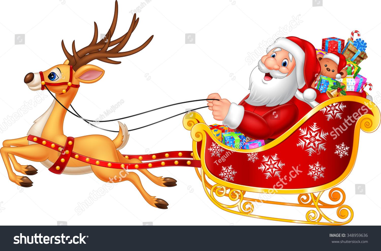 cartoon funny santa his christmas sled stock illustration