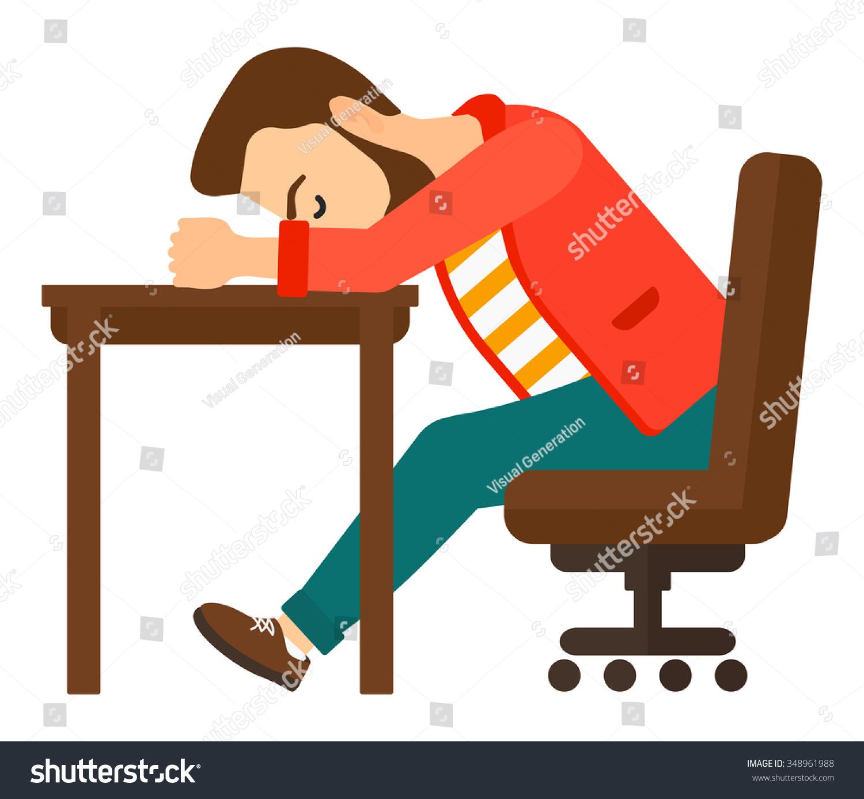 Tired young hipster man beard sleeping stock vector for Table design vector