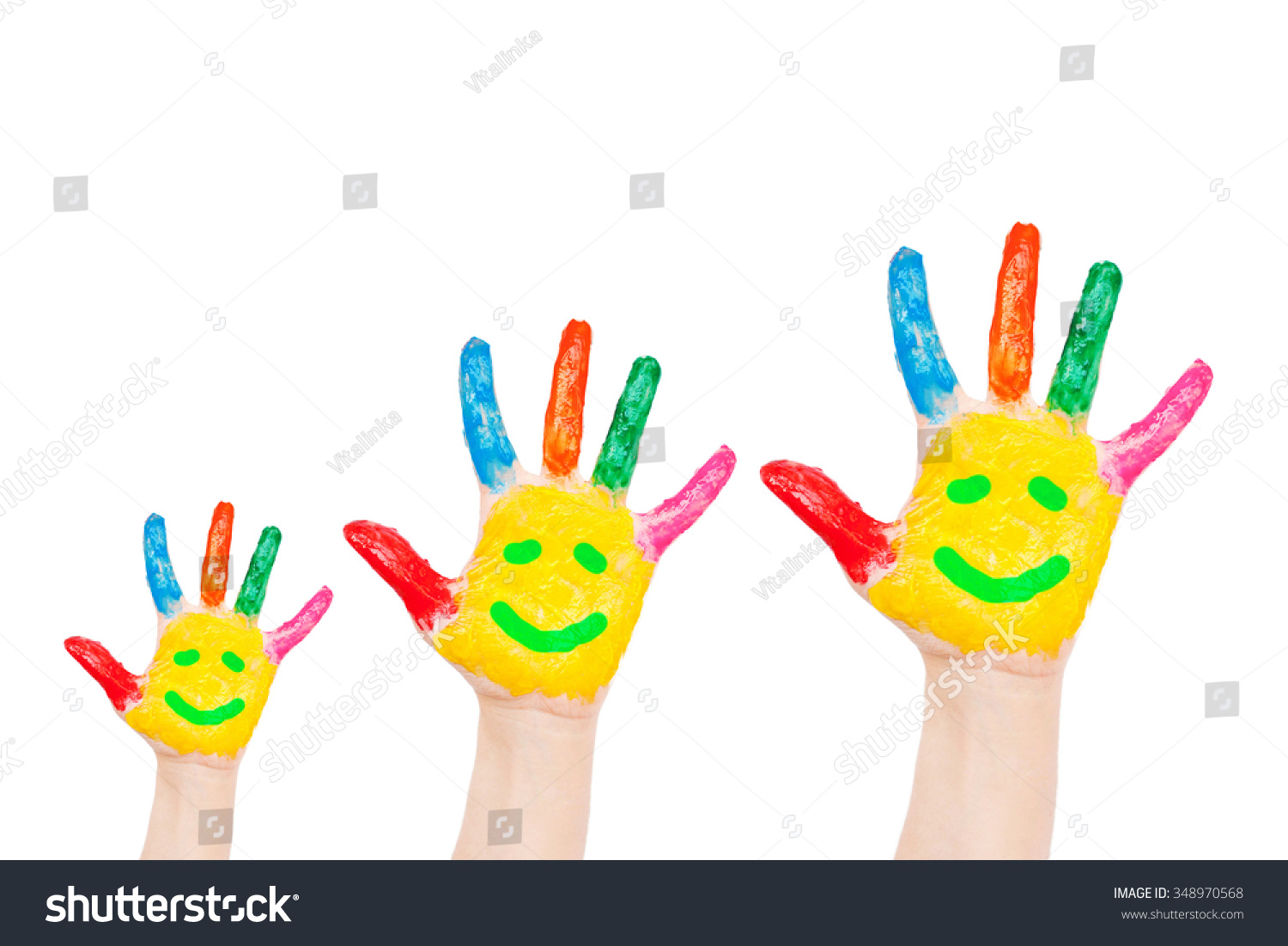 Smiley On Family Hands Symbol Happiness Stock Photo Edit Now