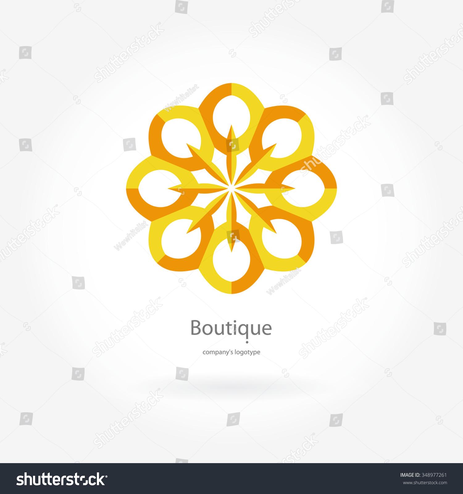 Round Logo Yellow Flower Bright Yellow Stock Vector 348977261