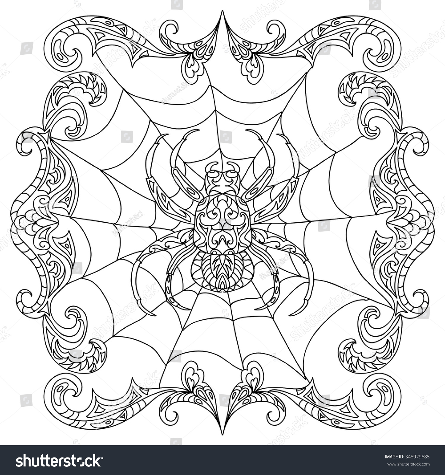Spider Zentangle Coloring Page Stock Vector Shutterstock
