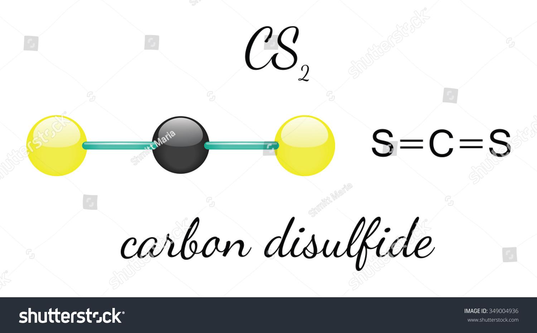 Cs 2 Carbon Disulfide 3 D Molecule Isolated Stock Vector Royalty