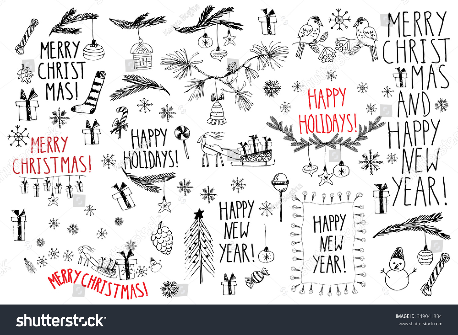 hand drawn doodle vector illustration christmas stock vector
