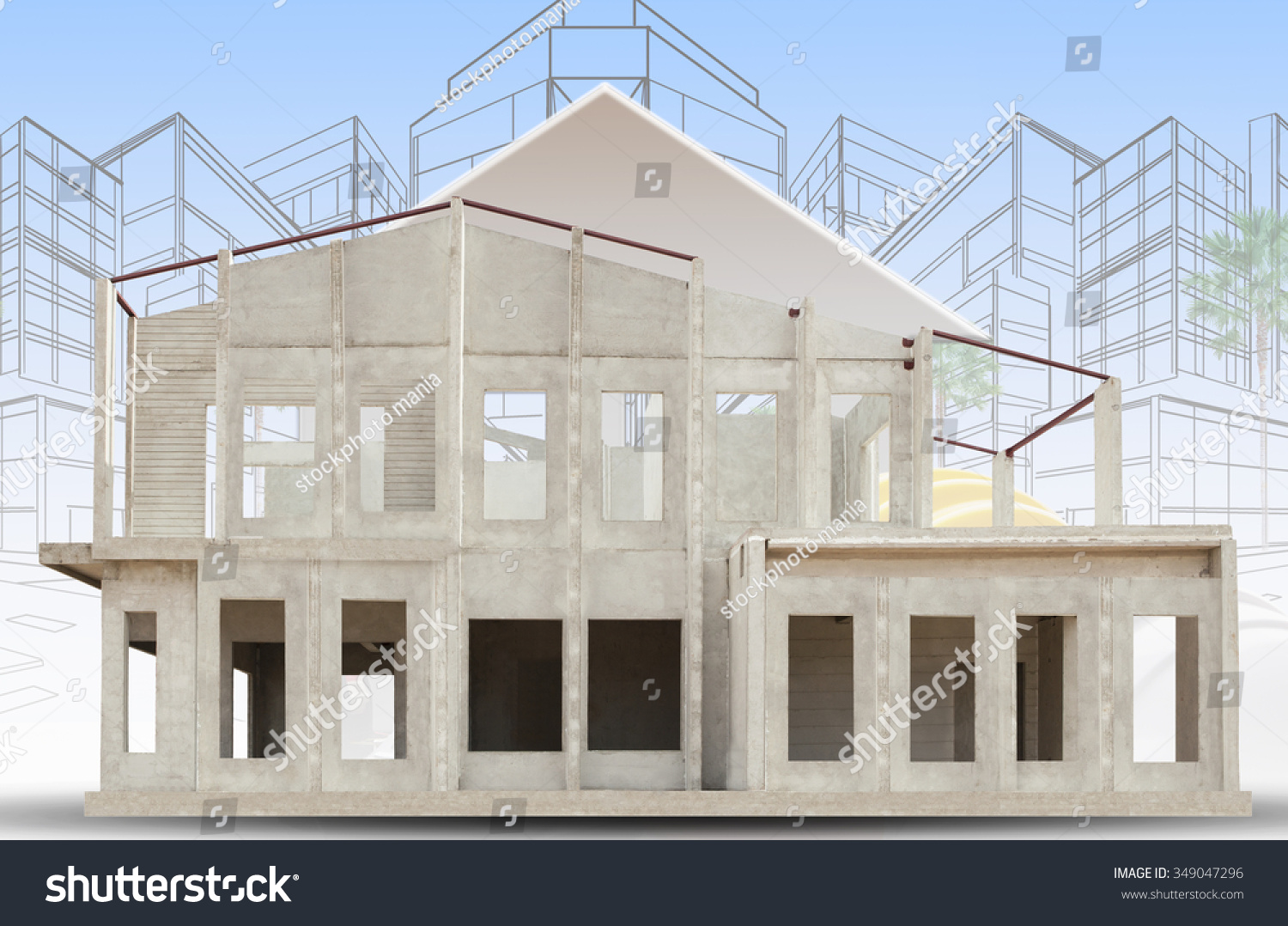 Frame of knock down house and two point perspective sketch of modern building
