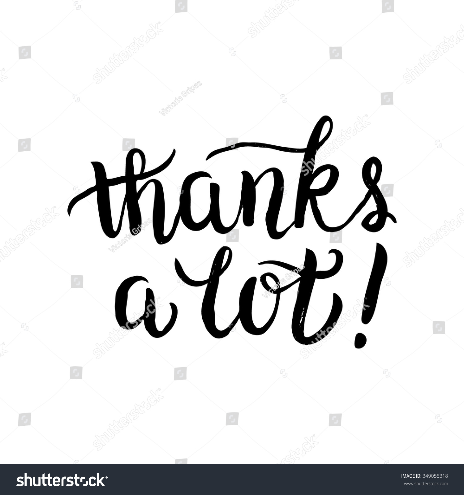 thanks card hand brush lettering calligraphy stock vector thanks a lot card hand brush lettering calligraphy script isolated on white background real