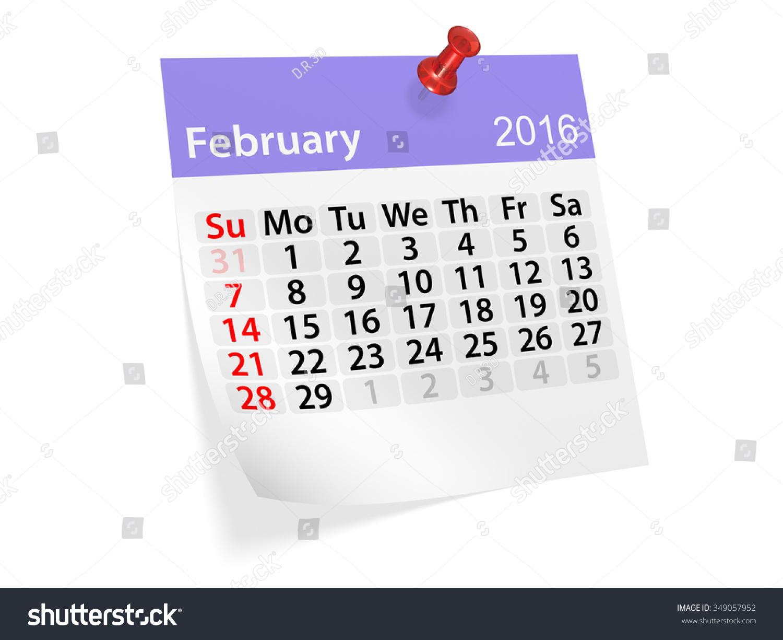 Calendar Illustration Search : Monthly calendar for february d illustration