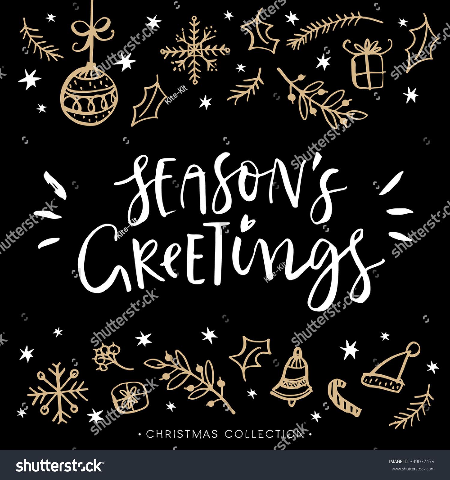Seasons Greetings Christmas Greeting Card Calligraphy