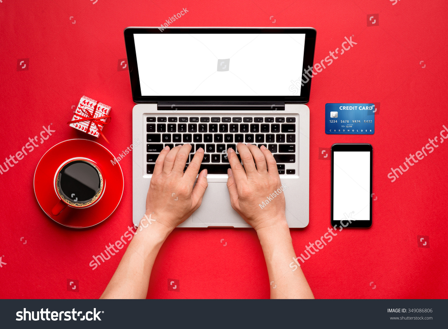 Top View Man Buying Christmas Gifts Stock Photo (Edit Now) 349086806 ...