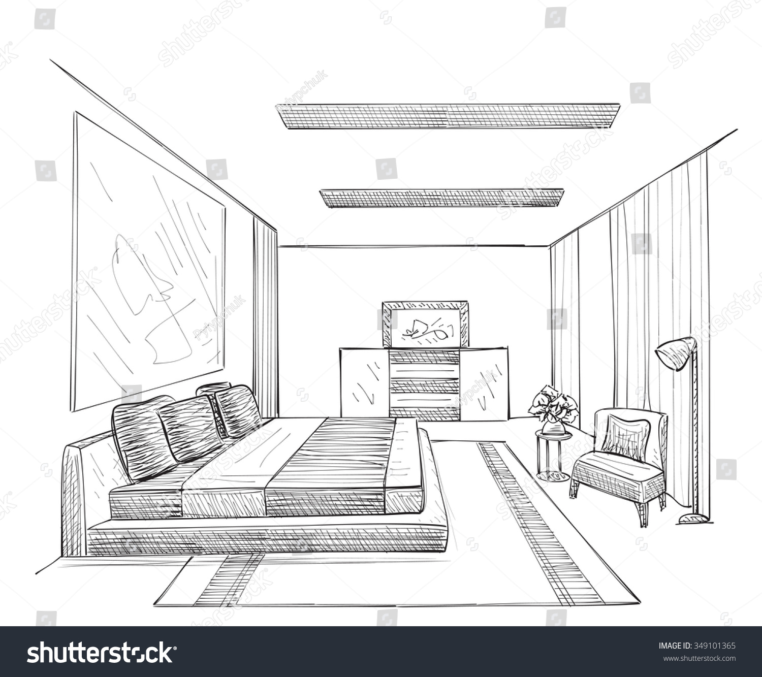 Hand Drawn Room Interior Sketch Stock Vector 349101365