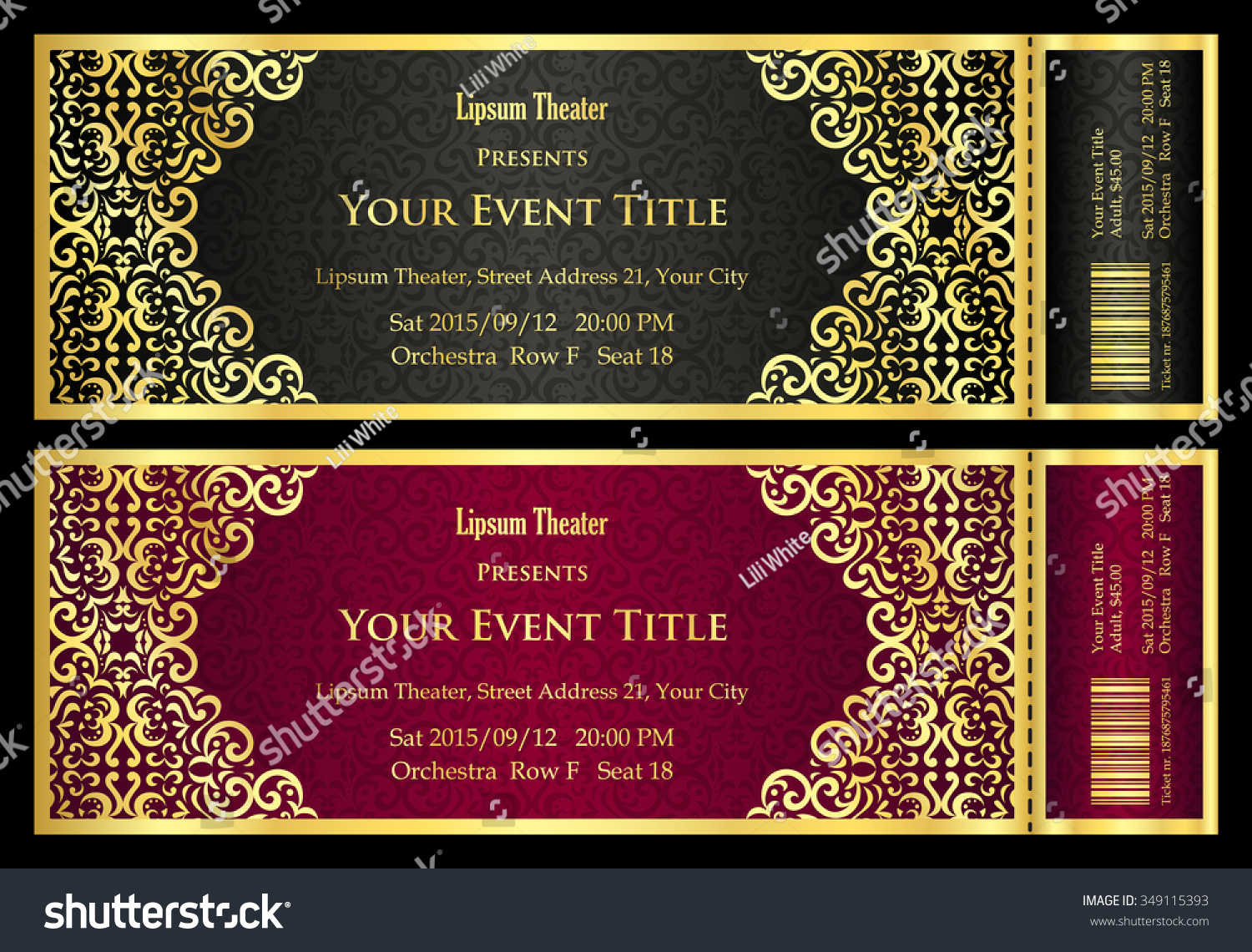 Vintage Black Red Ticket Golden Ornament Stock Vector (Royalty Free ...