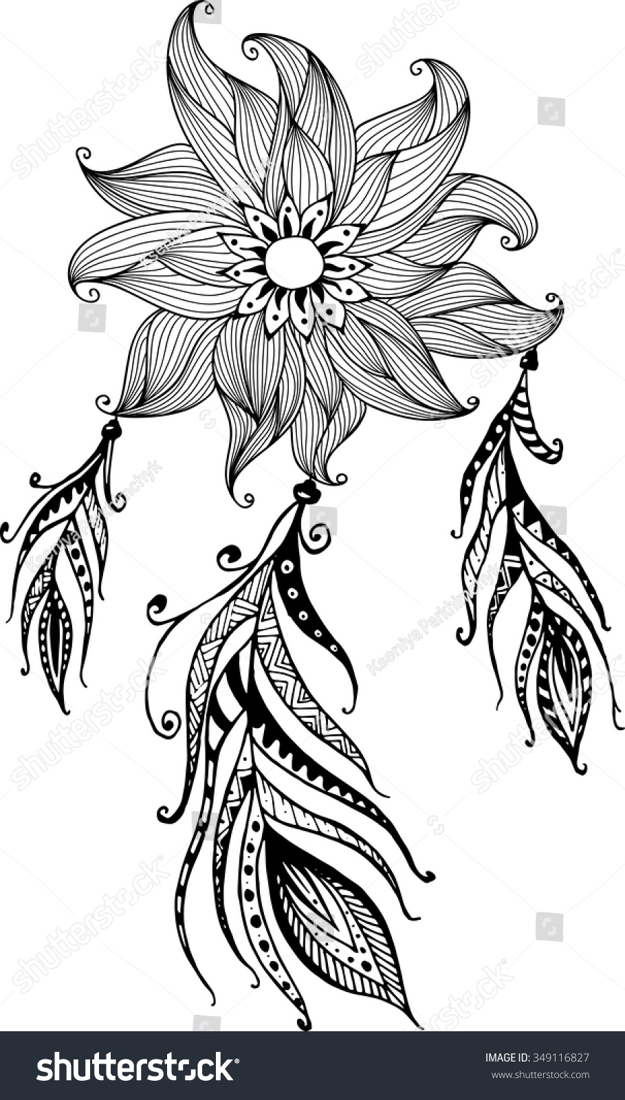 Handdrawn Flower Mandala Dreamcatcher Feathers Ethnic
