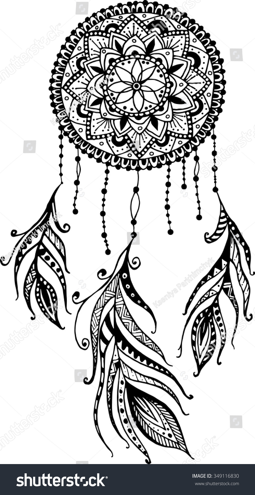 Handdrawn Mandala Ink Dreamcatcher Feathers Ethnic Stock