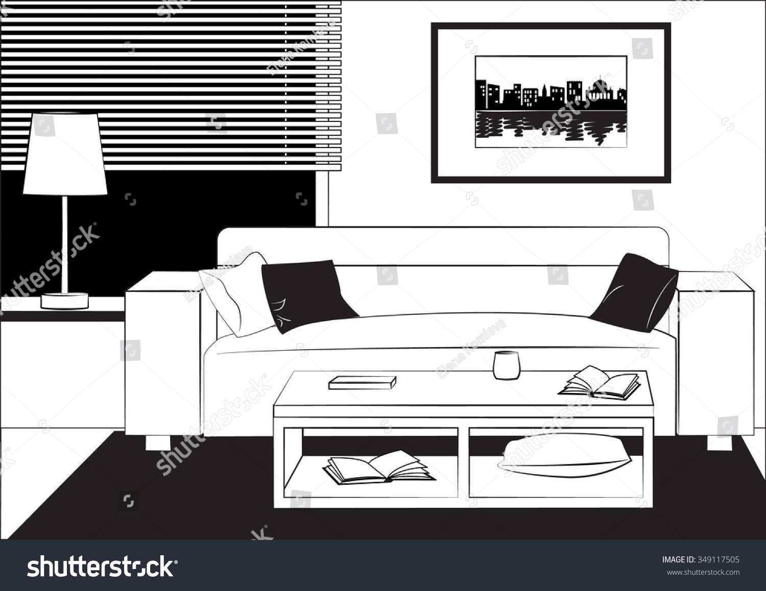 Outline Drawing Interior Living Room Sofa Stock Vector 349117505 ...