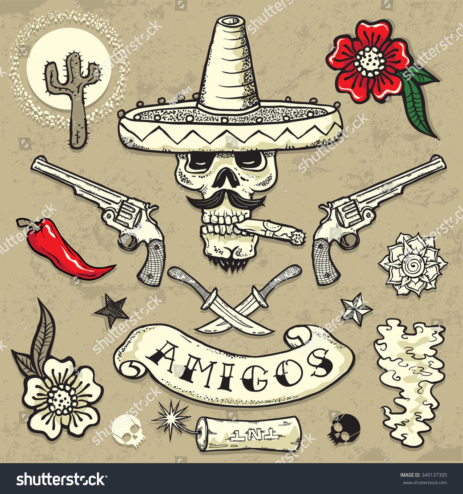 set vector elements mexican theme tattooart stock vector 349137395 shutterstock. Black Bedroom Furniture Sets. Home Design Ideas