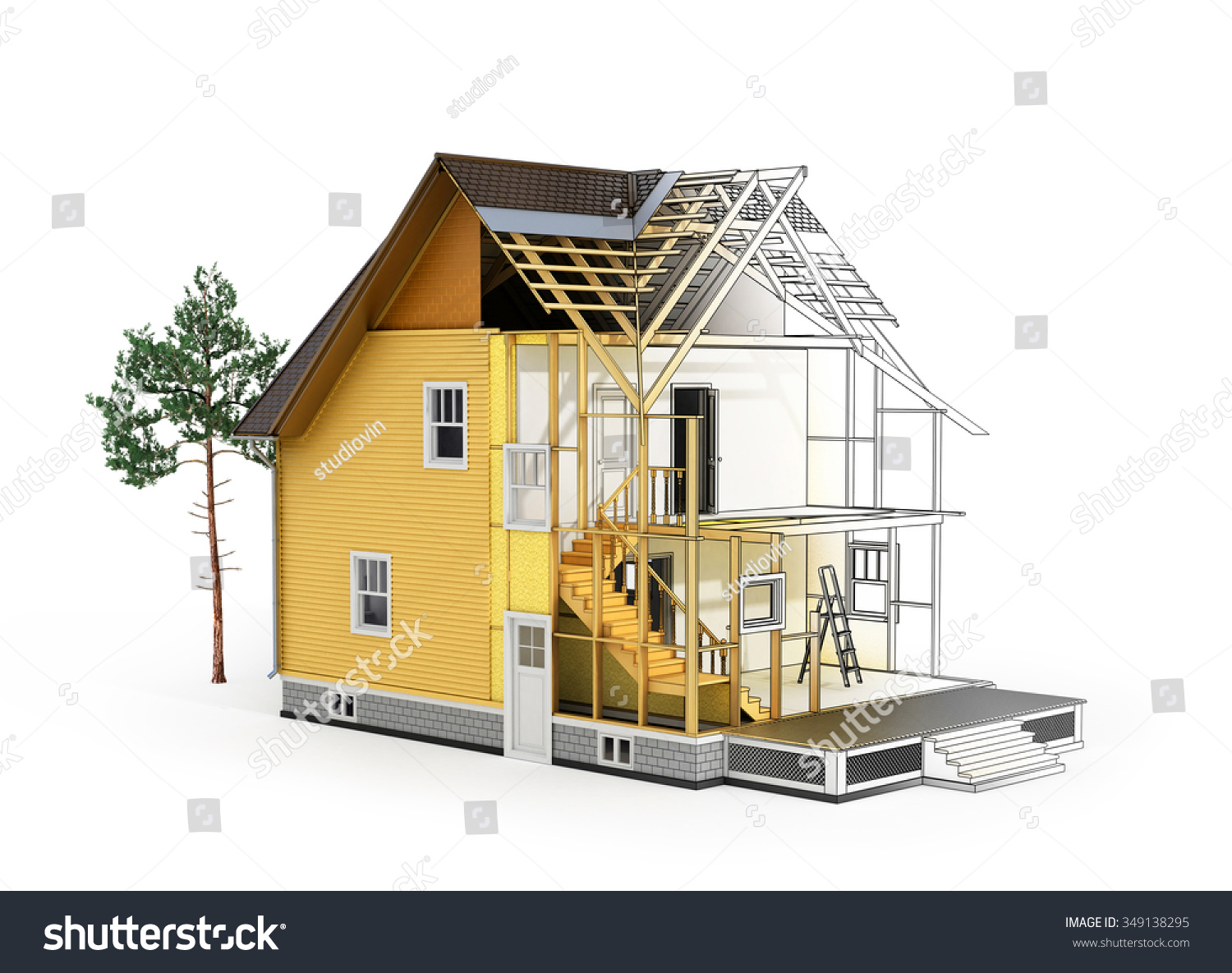 Concept construction architect design 3d render stock 3d house building