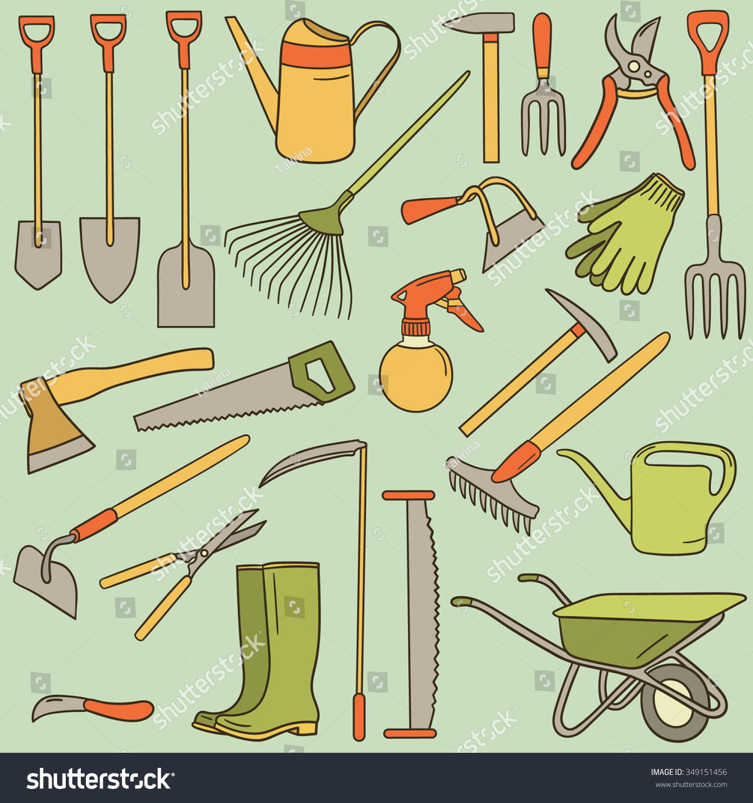 Hand Drawn Collection Farming Tools Big Stock Vector 349151456 ...