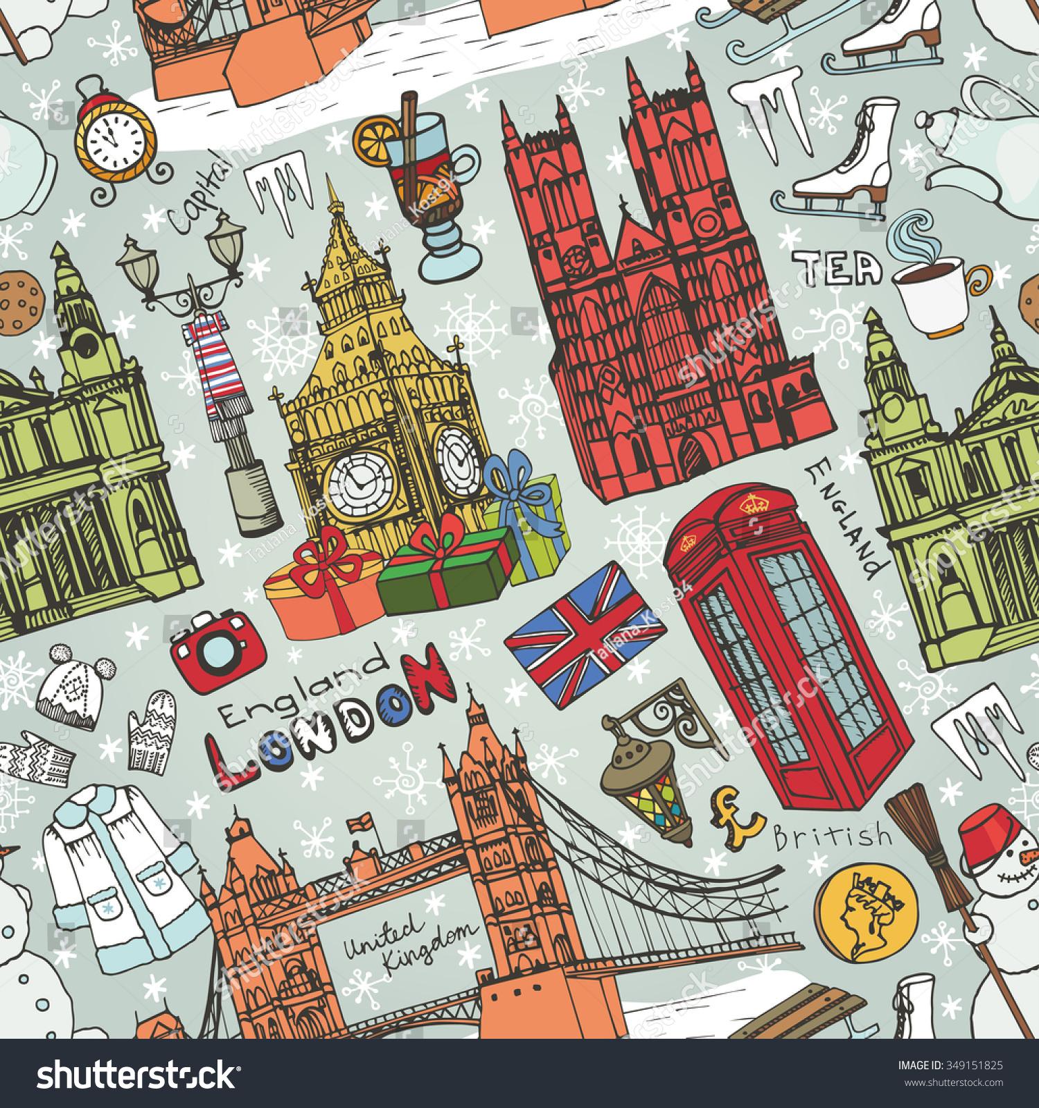 Winter vectorlondon landmark symbols seamless patternhand stock london landmark symbols in seamless patternhand drawn doodle sketchy biocorpaavc