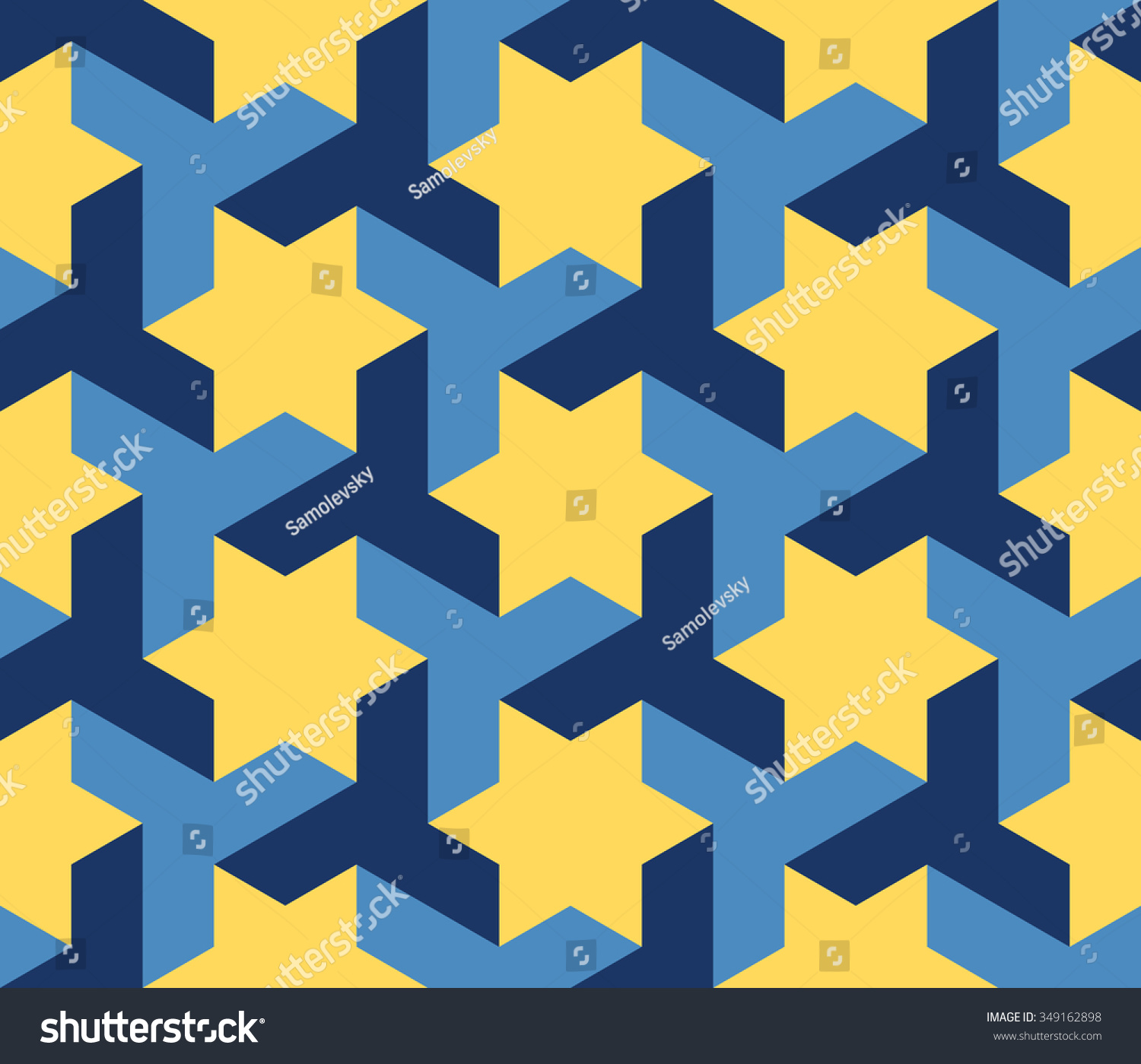 Stock Vector Vector Seamless Blue Yellow Geometric Star Triangle Shape Tessellation Pattern Abstract Background on Creative Tessellations