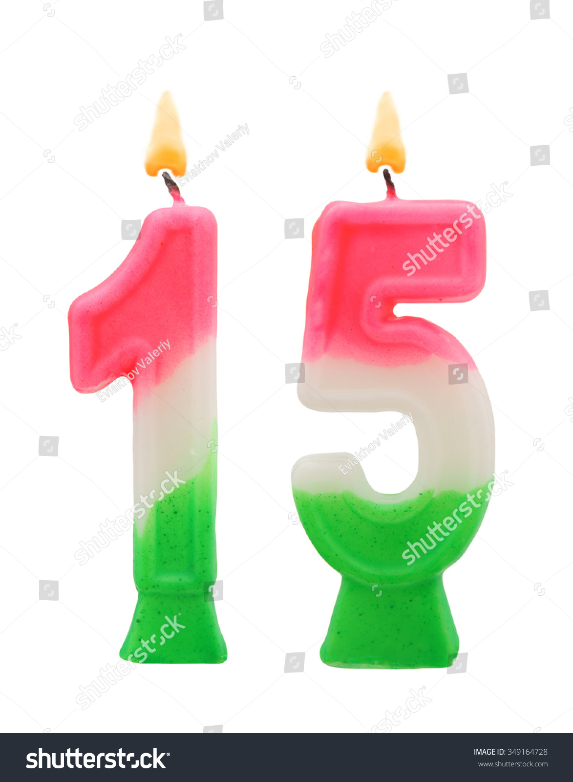 Burning Birthday Candles Isolated On White Background Number 15