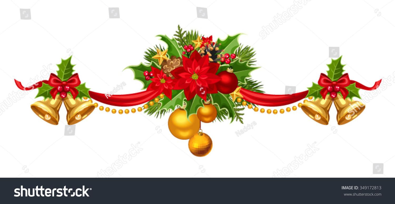 vector christmas garland red gold green stock vector royalty free
