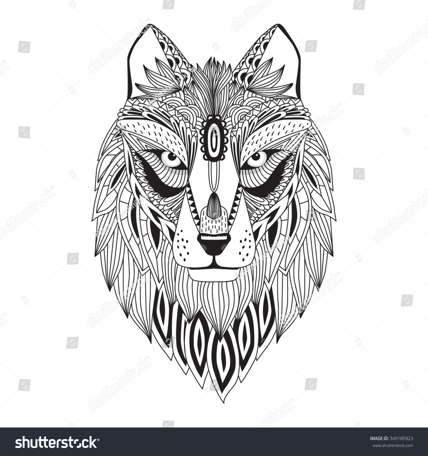 Coloring pages for adults wolf - Patterned Head Of The Wolf Vector Illustration In Zentangle Style Sketch For Adult Antistress