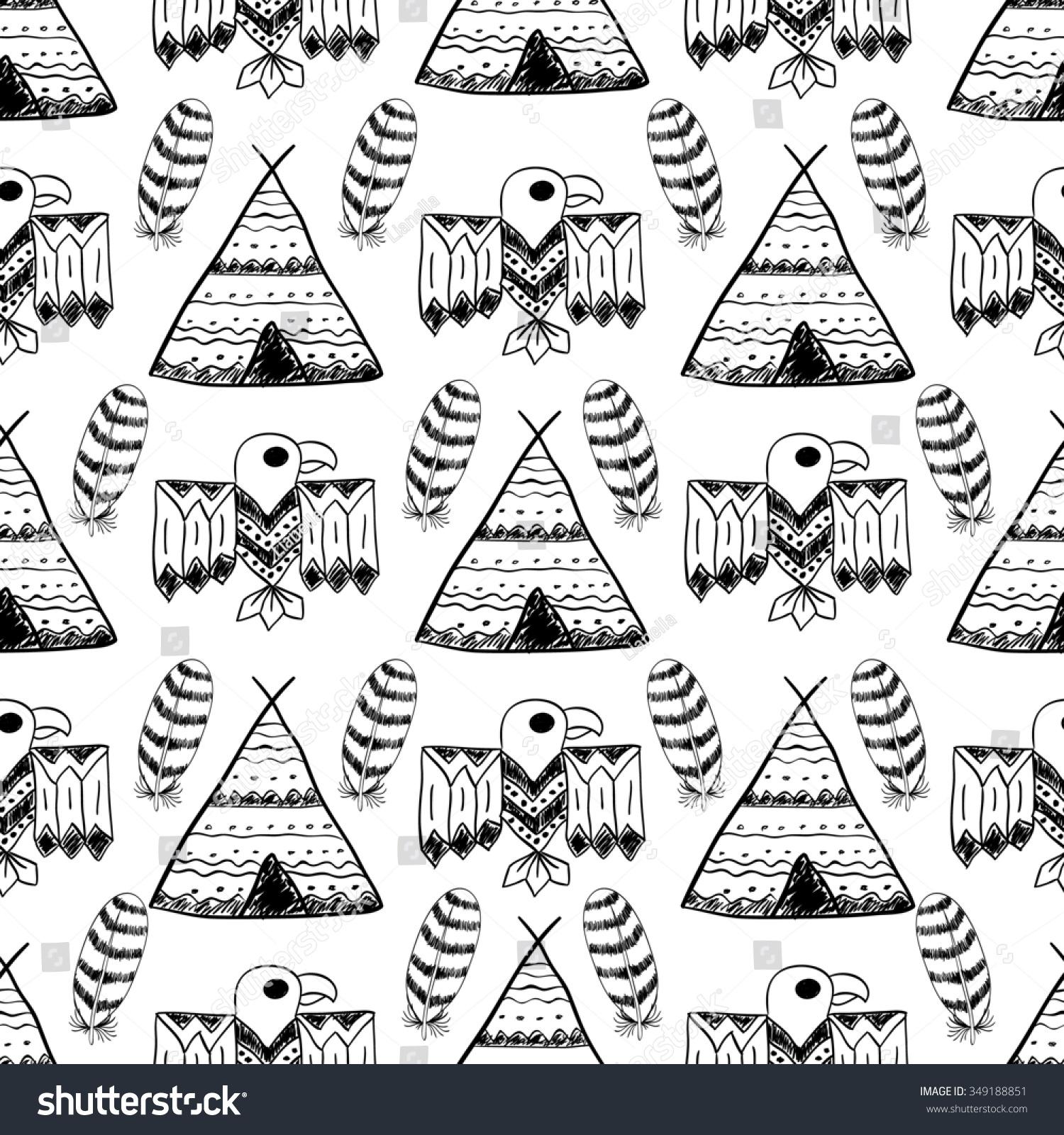 Native American Seamless Pattern Different Tribal Stock Illustration