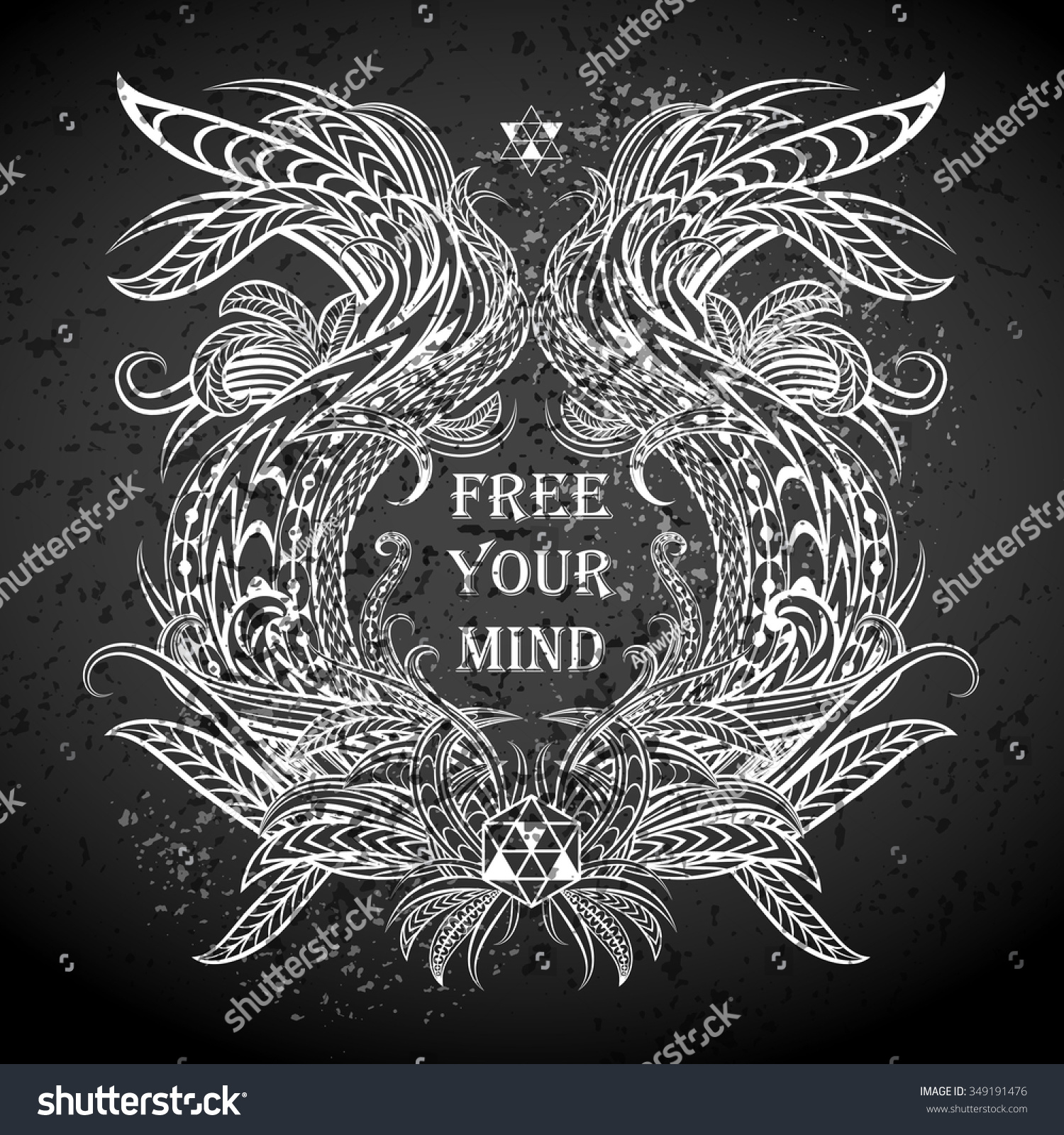 Free Your Mind Quotes Motivation Free Your Mind Ethnic Frame Stock Vector 349191476