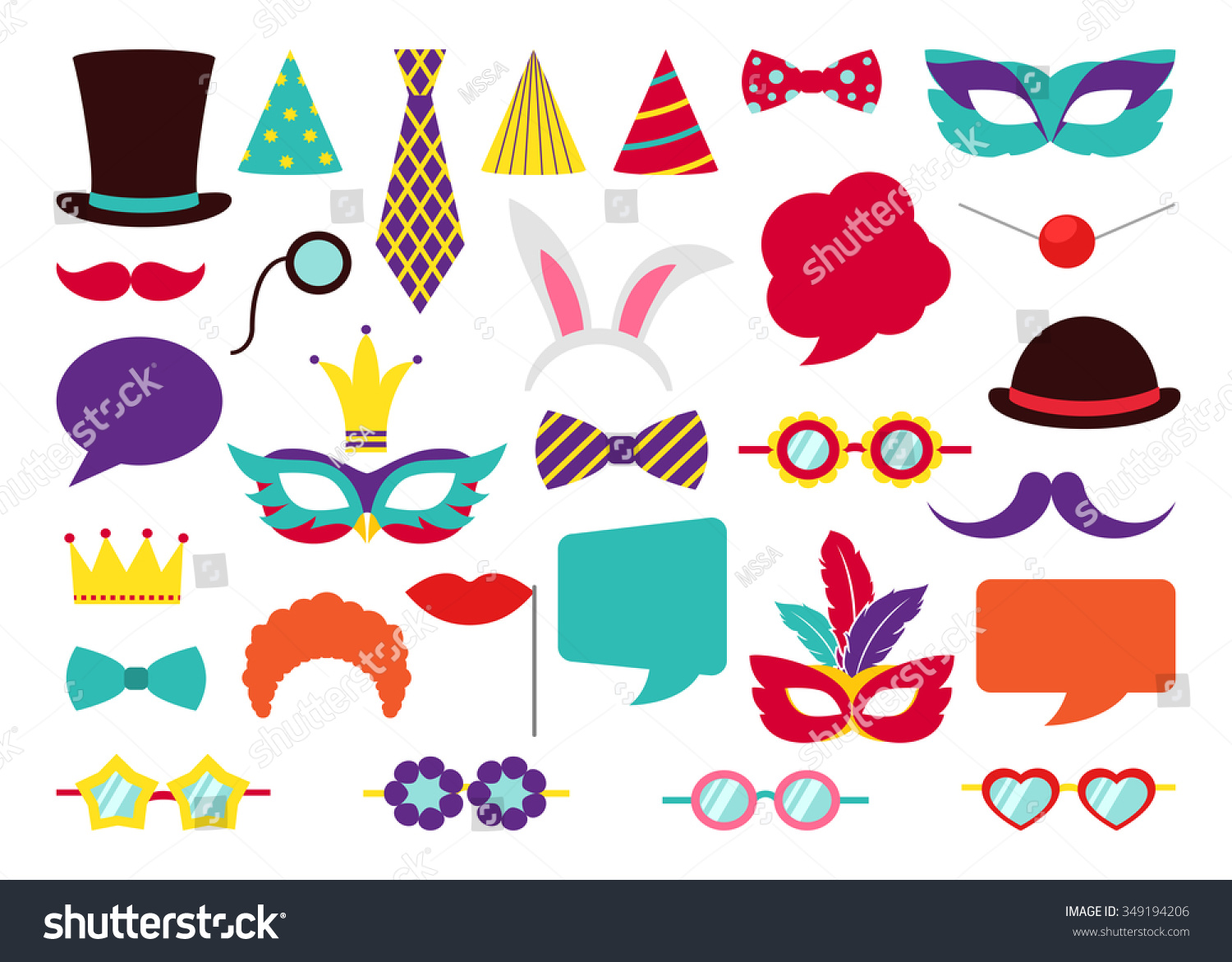 Party Birthday photo booth props Hat and mask costume and cylinder bunny ears nose moustache Vector illustration collection