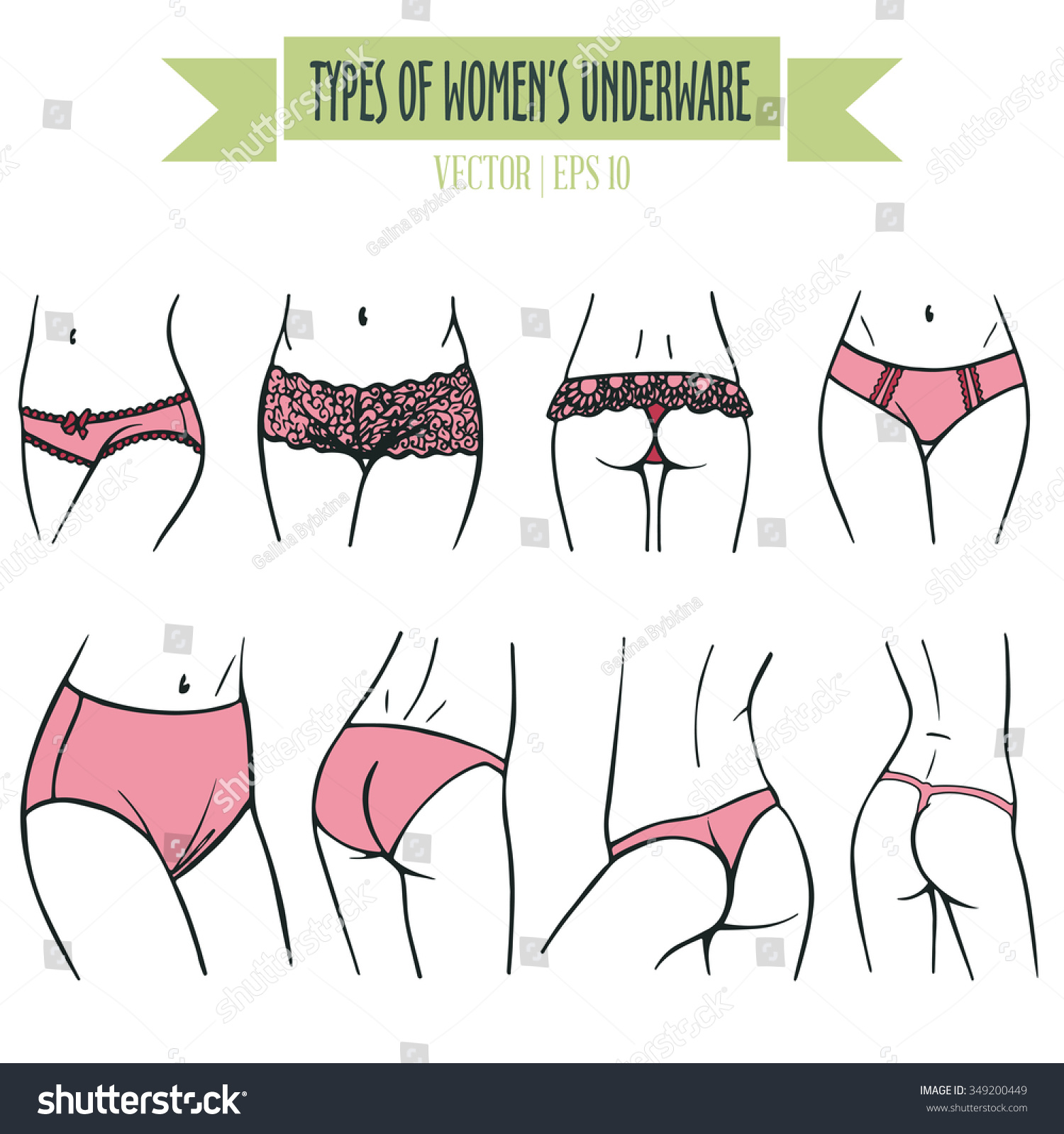 Hand Drawn Types Womens Underwear Vector Stock Vector 349200449 ...