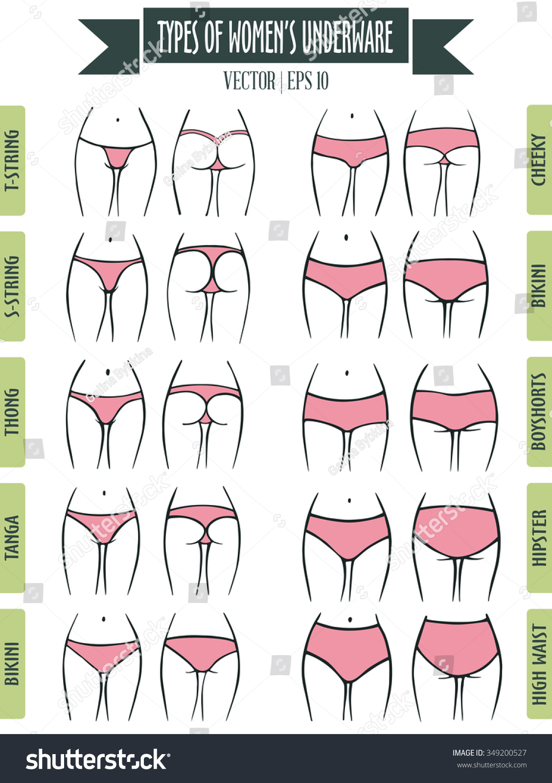 Hand Drawn Types Womens Panties Vector Stock Vector 349200527 ...