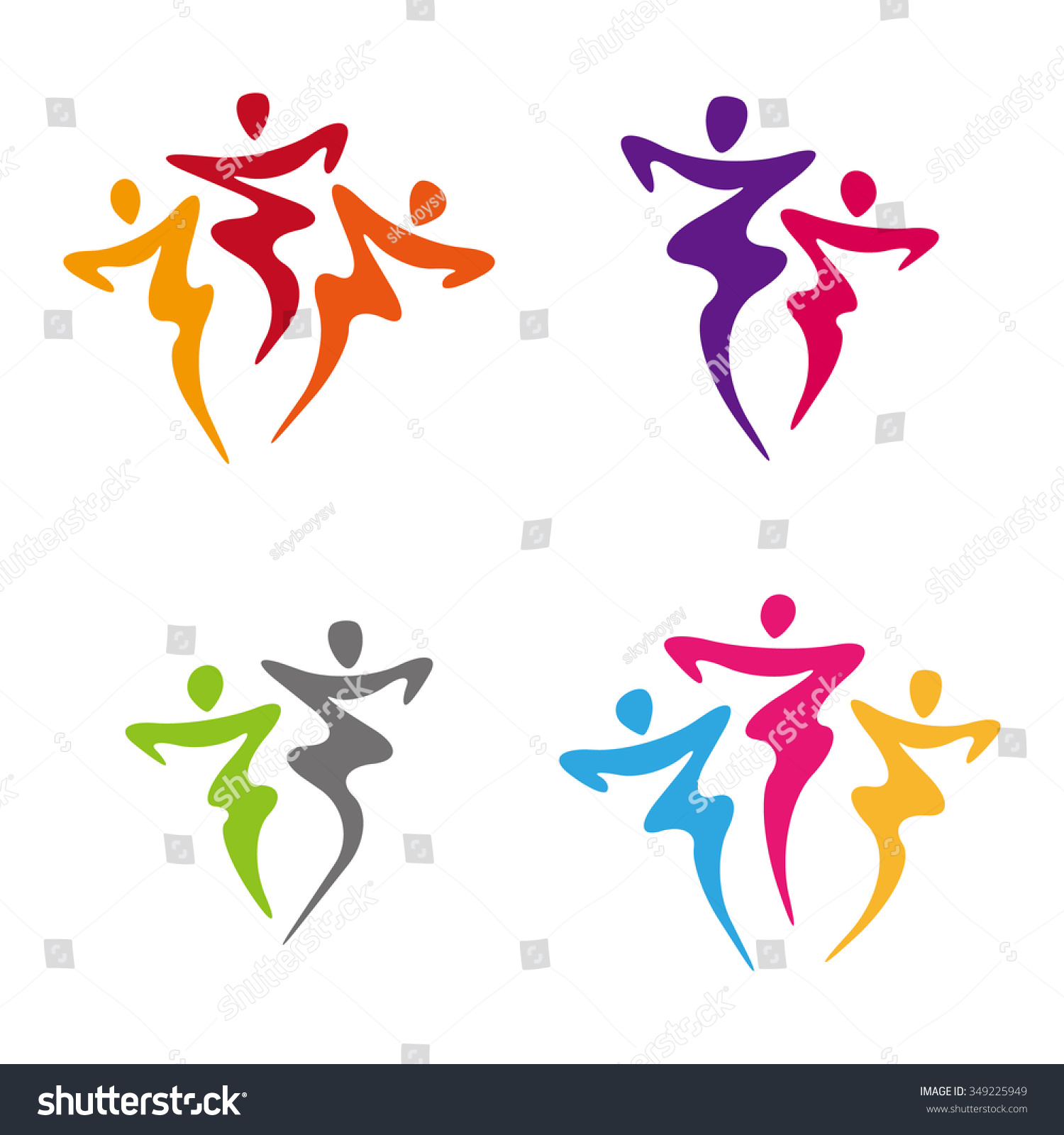 Dancers illustration dancing people logo set stock vector for Abstract salon of the arts
