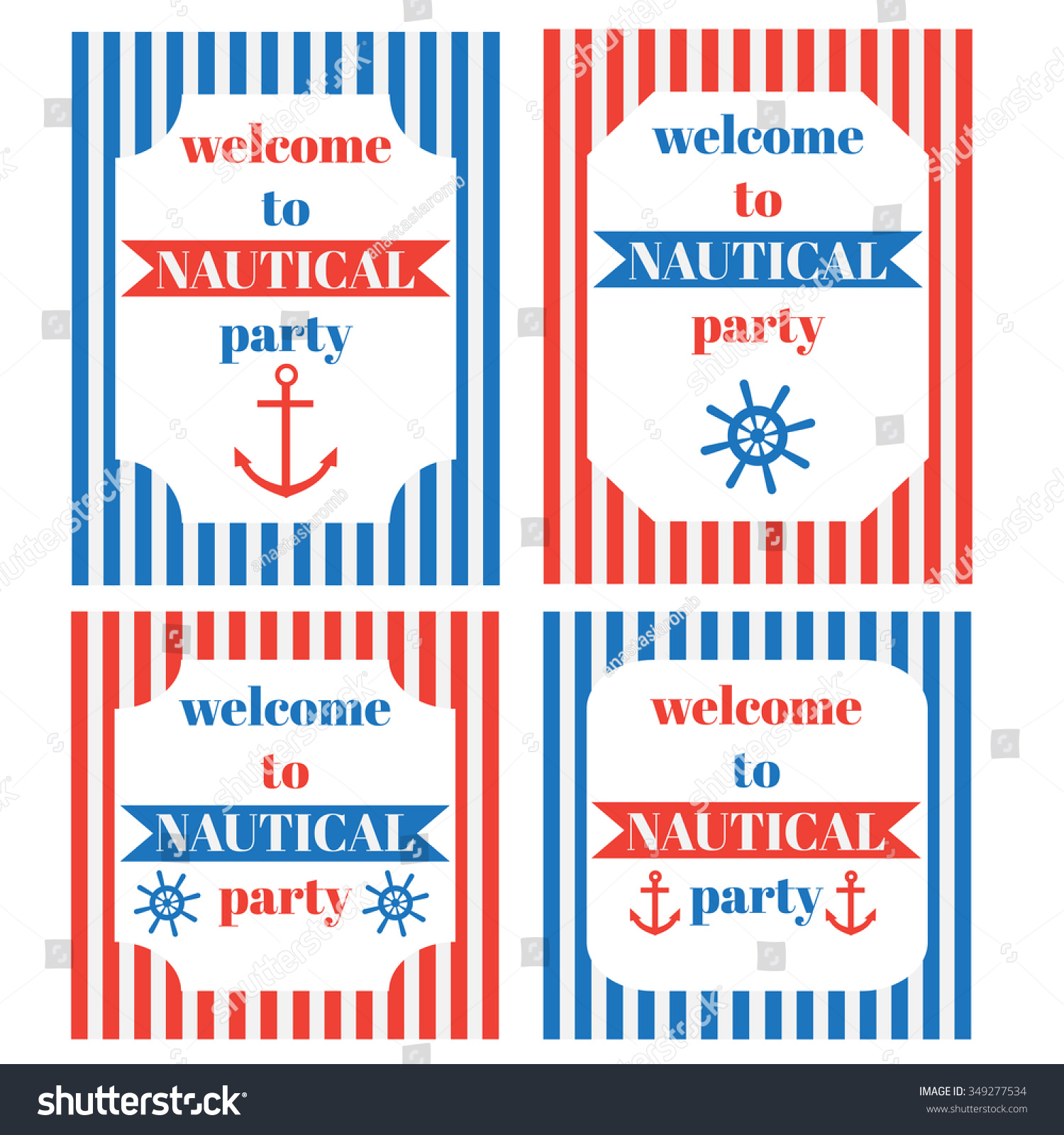 Vintage Nautical Party Invitation Marine Sailor Stock Vector ...