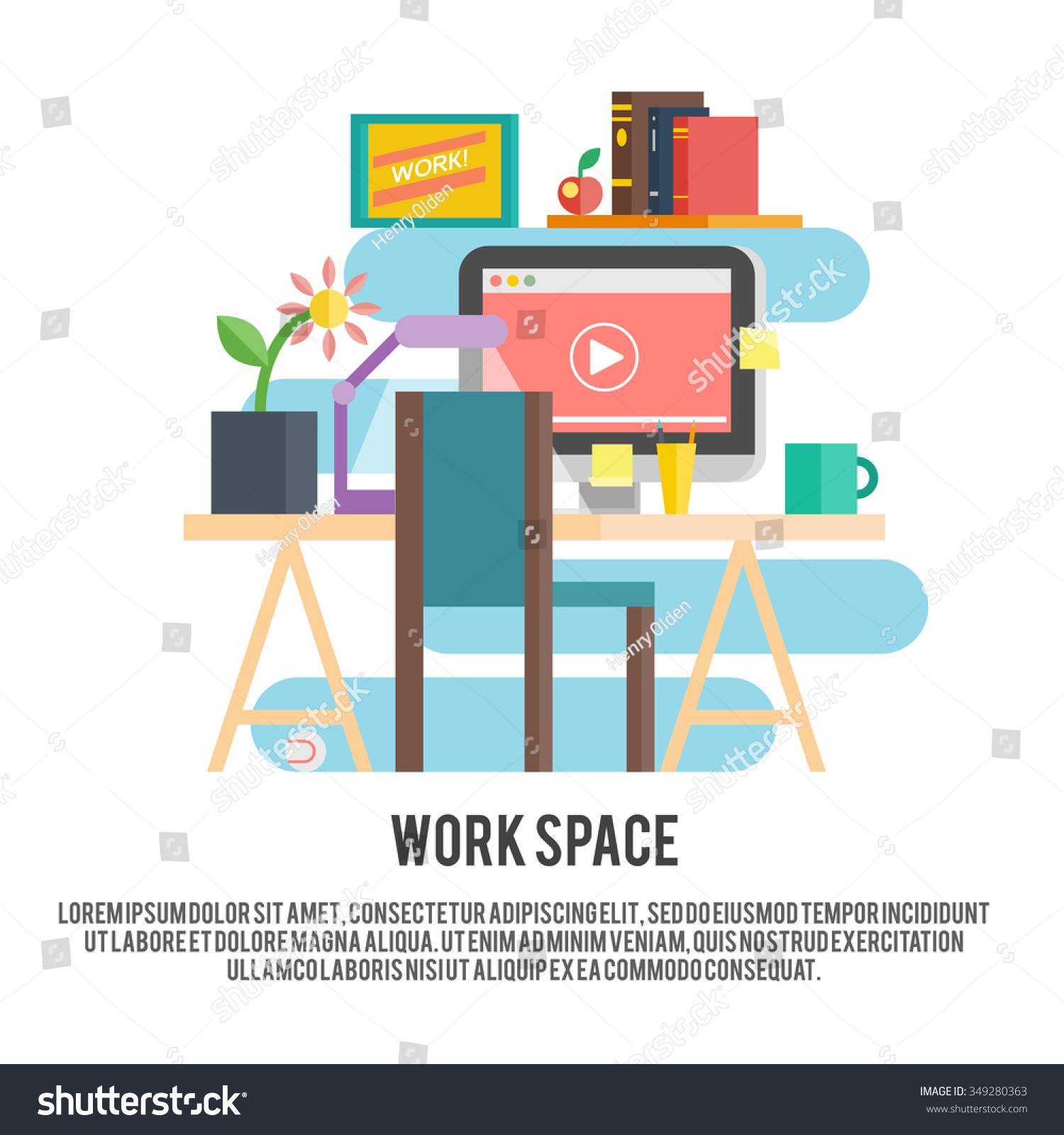 Freelance Work Space Designer Place Vector Stock Vector 349280363 ...