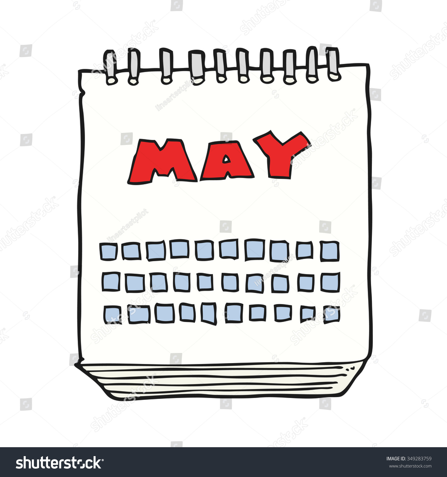 Calendar Showing May : Freehand drawn cartoon calendar showing month stock vector