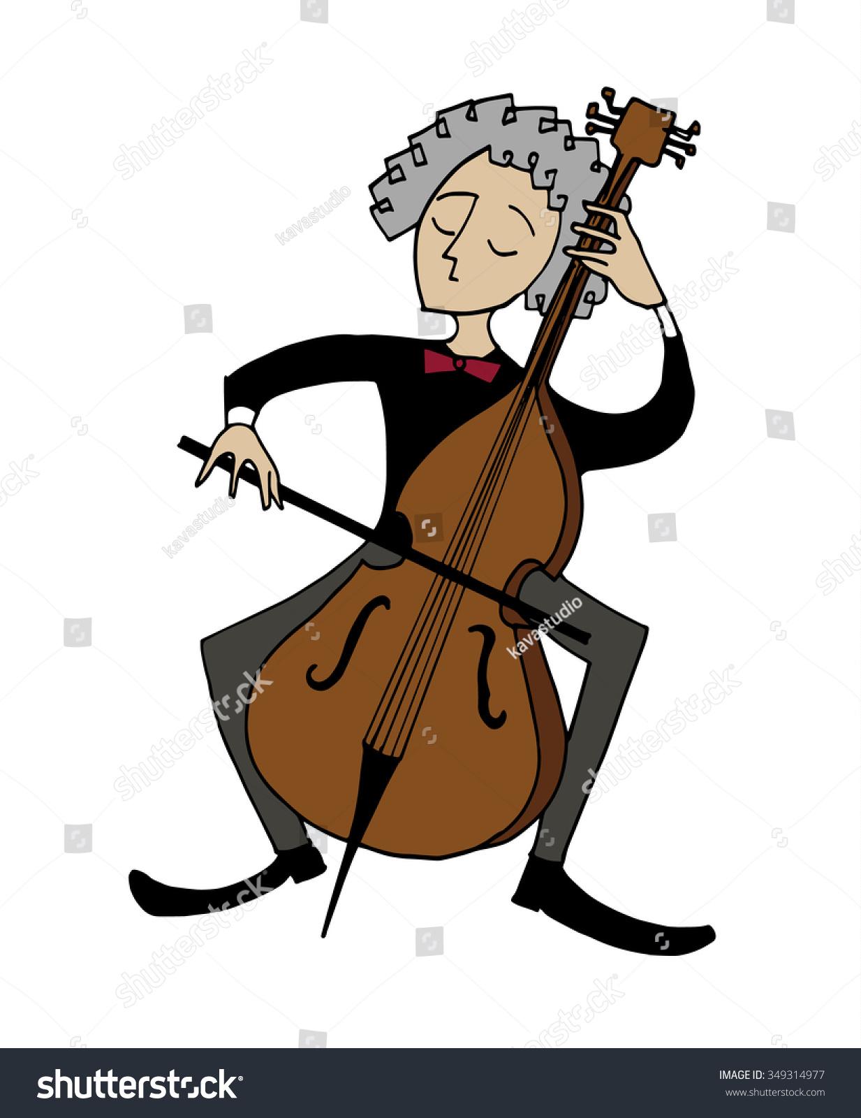 Cartoon cellist musician playing cello clipart stock for Illustration minimaliste