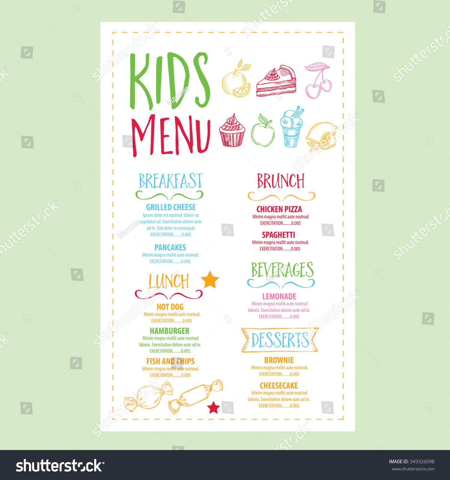 Vector Restaurant Brochure Kids Menu Design Stock Vector Royalty