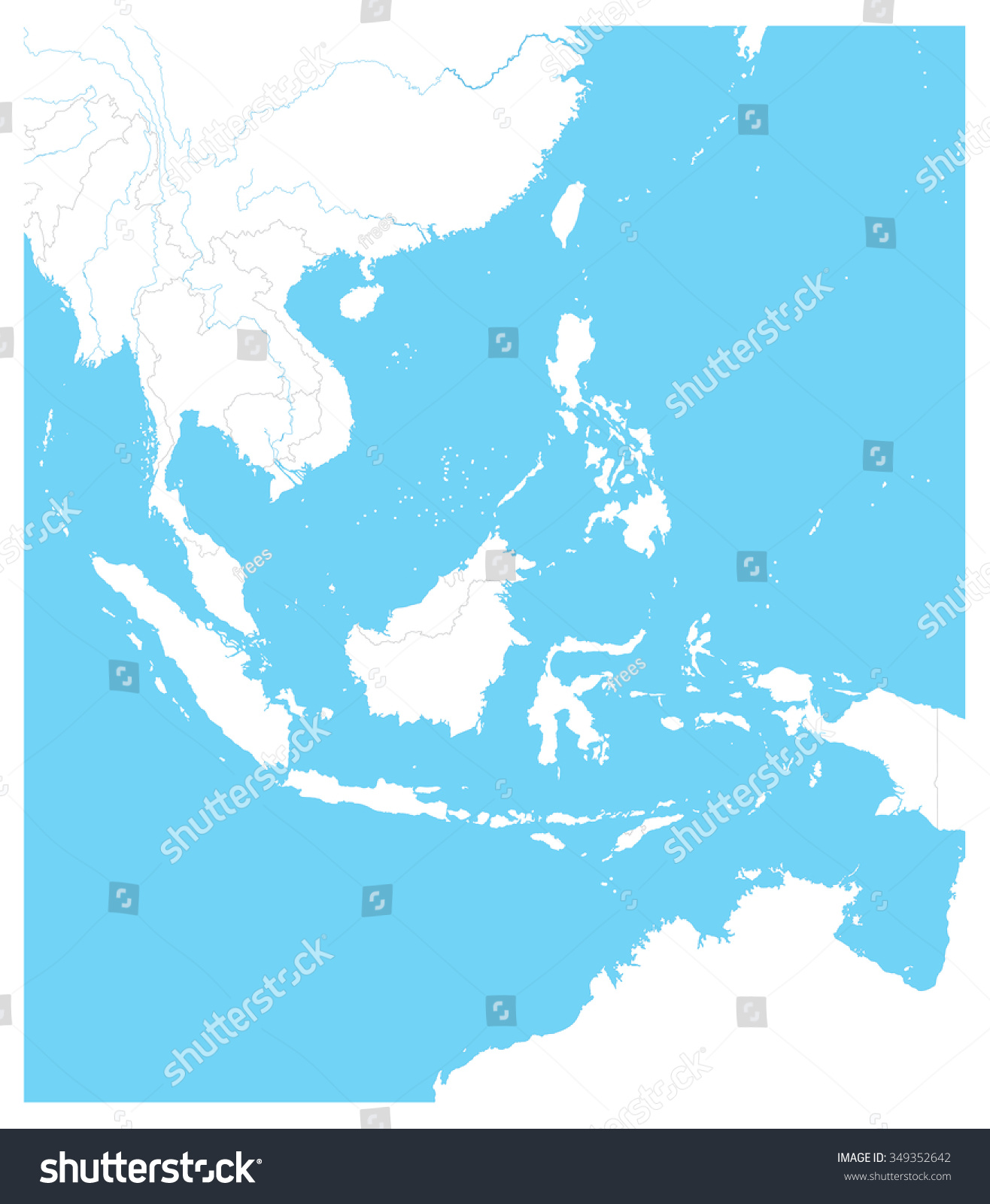 Picture of: Southeast Asia Outline Map Vector Illustration Stock Vector Royalty Free 349352642