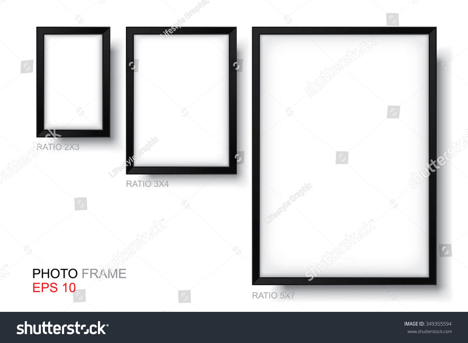 set of picture frame vector standard size of photo frame for template design and interior