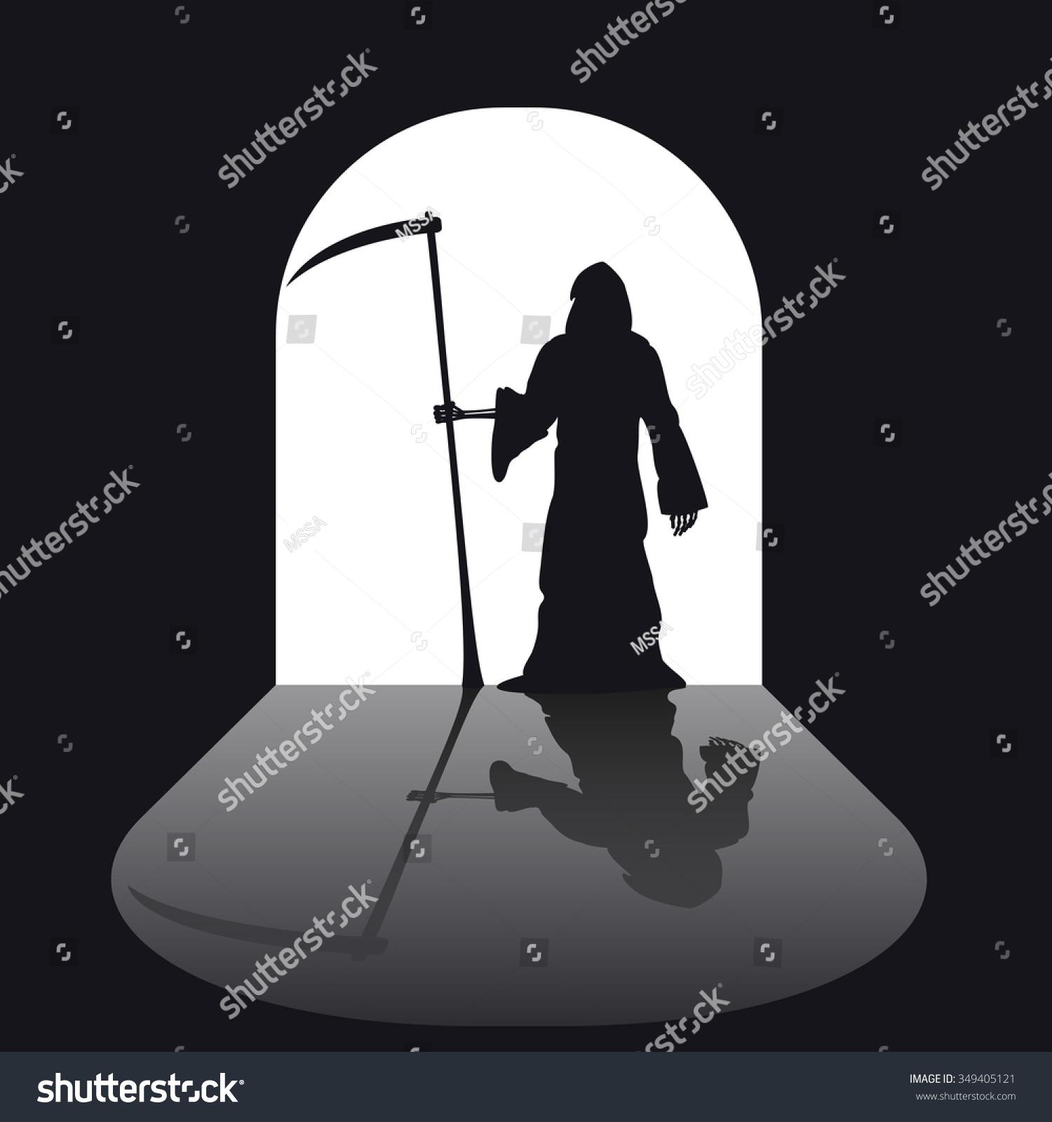 Grim Reaper Silhouette Horror Black Evil Stock Vector