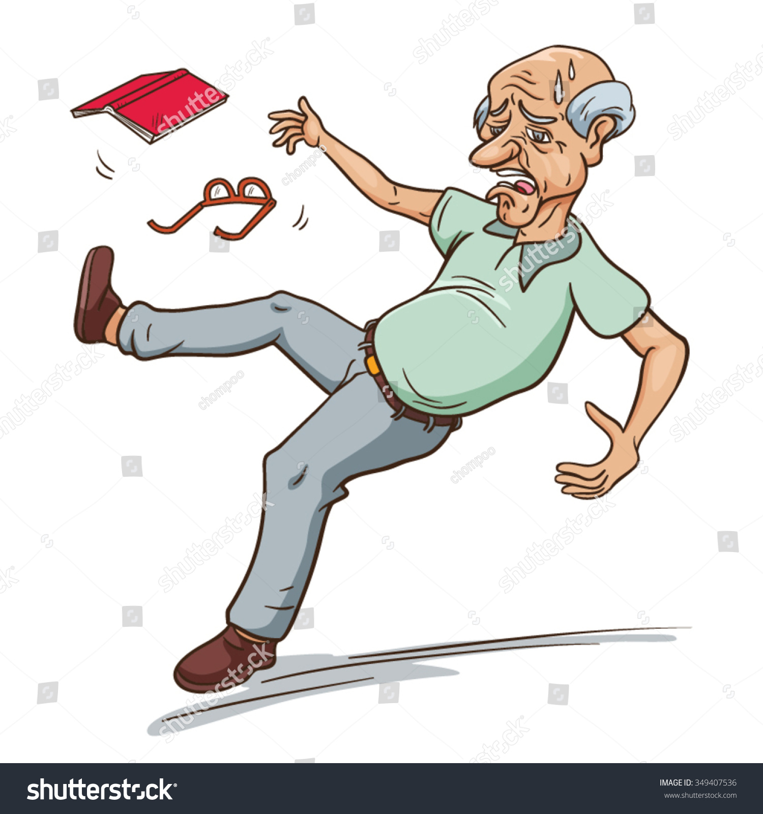 Old Man Falling Down Vector Cartoon Stock Vector 349407536