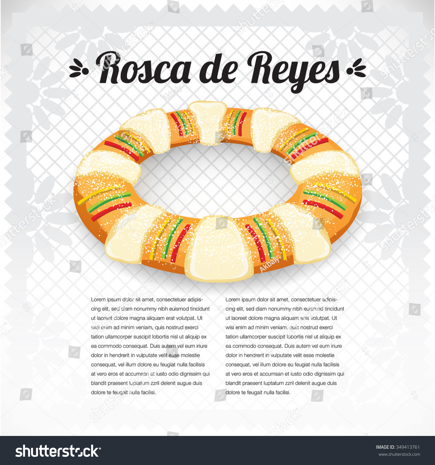 Vector De Stock Libre De Regalías Sobre Three Kings Cake Rosca De